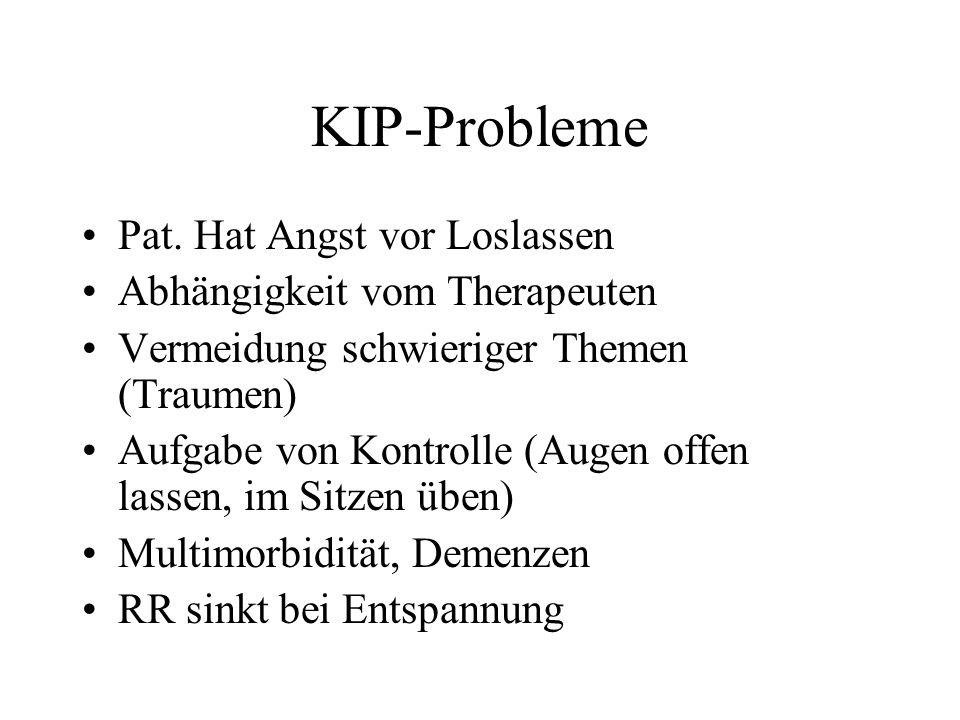 KIP-Probleme Pat. Hat Angst vor Loslassen Abhängigkeit vom Therapeuten