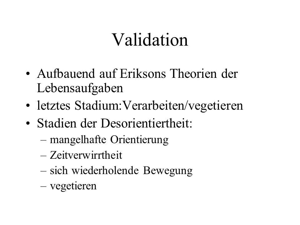 Validation Aufbauend auf Eriksons Theorien der Lebensaufgaben