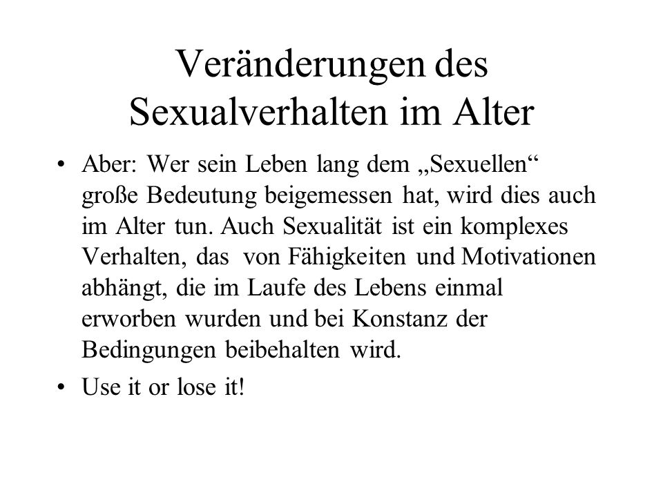 Veränderungen des Sexualverhalten im Alter
