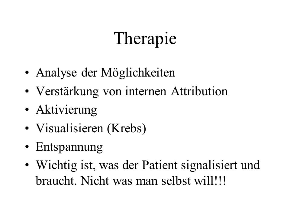 Therapie Analyse der Möglichkeiten