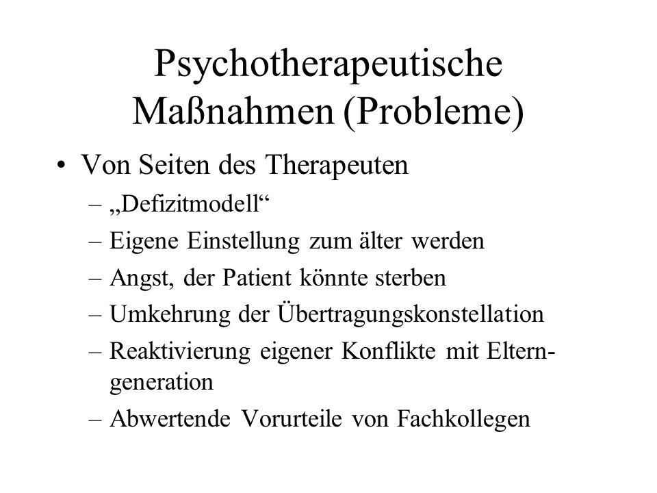 Psychotherapeutische Maßnahmen (Probleme)