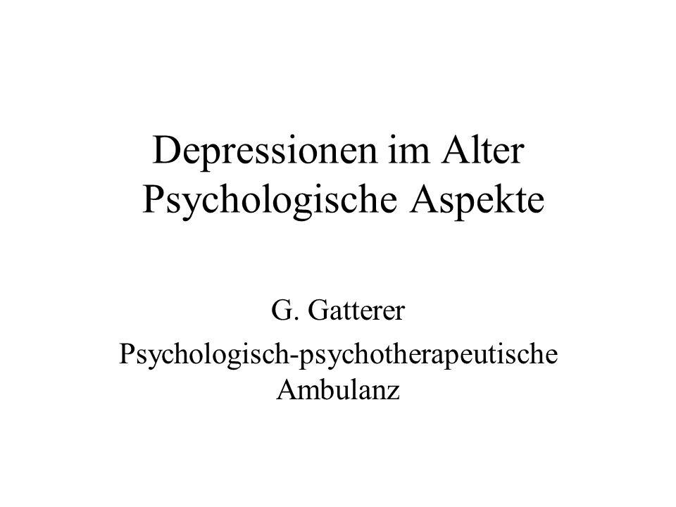 Depressionen im Alter Psychologische Aspekte