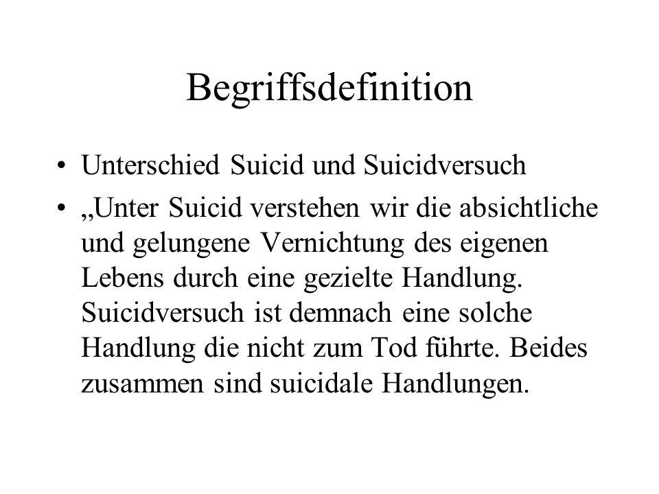 Begriffsdefinition Unterschied Suicid und Suicidversuch