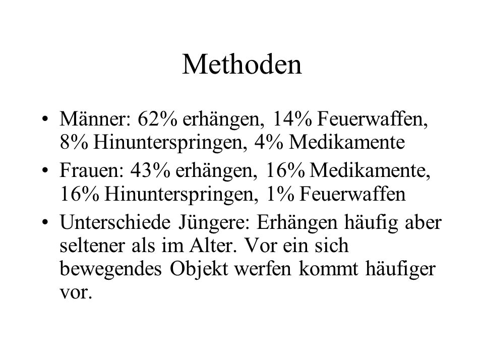 Methoden Männer: 62% erhängen, 14% Feuerwaffen, 8% Hinunterspringen, 4% Medikamente.