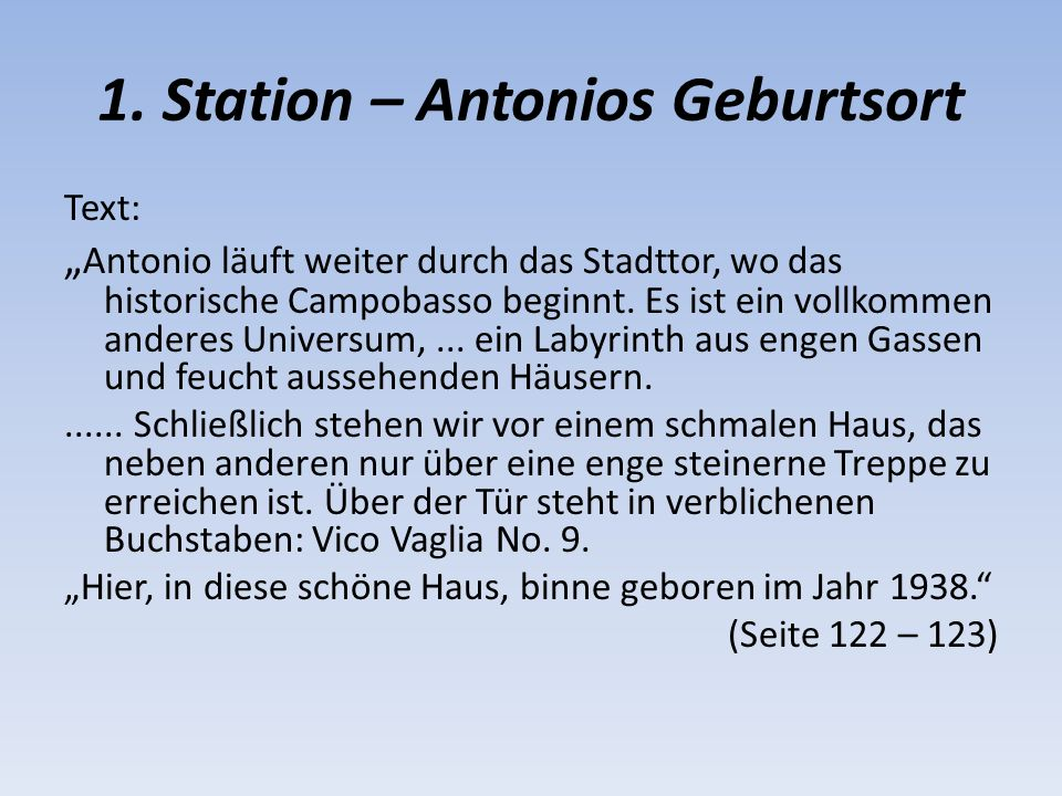 1. Station – Antonios Geburtsort
