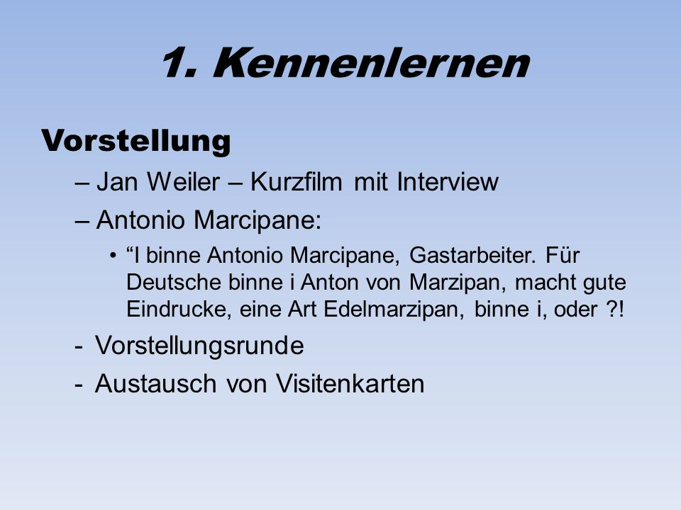 1. Kennenlernen Vorstellung Jan Weiler – Kurzfilm mit Interview