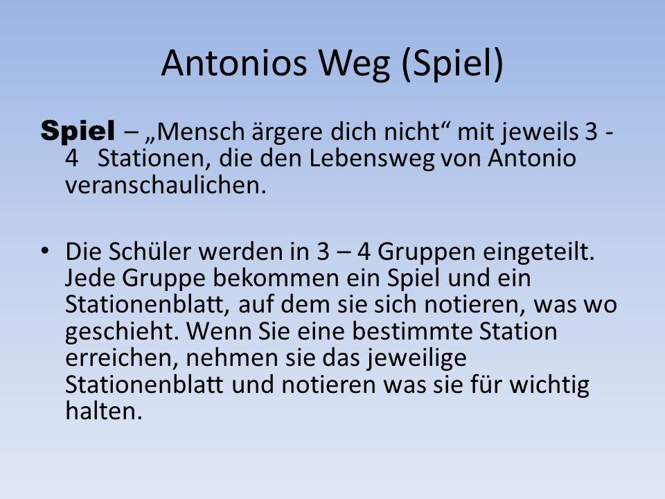 """Antonios Weg (Spiel)Spiel – """"Mensch ärgere dich nicht mit jeweils 3 - 4 Stationen, die den Lebensweg von Antonio veranschaulichen."""