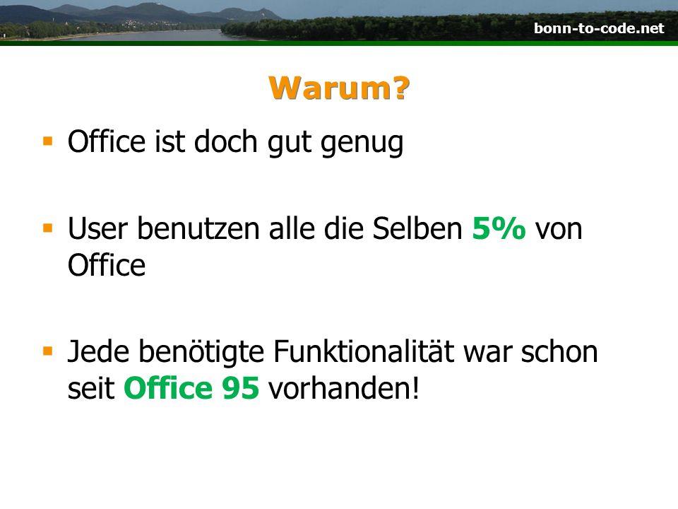 Warum. Office ist doch gut genug. User benutzen alle die Selben 5% von Office.