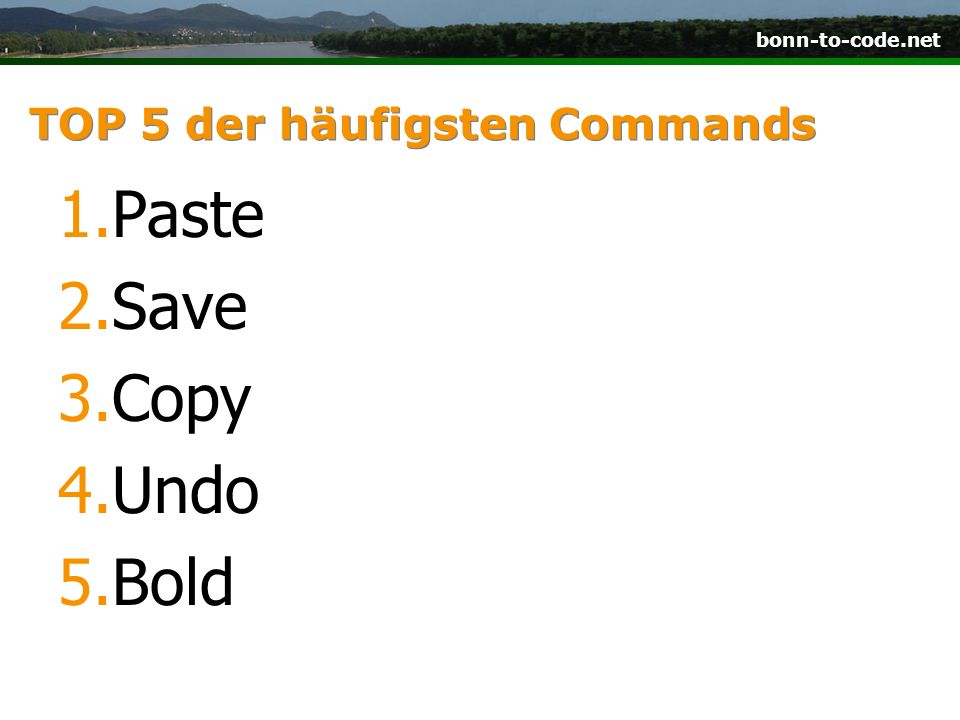 TOP 5 der häufigsten Commands