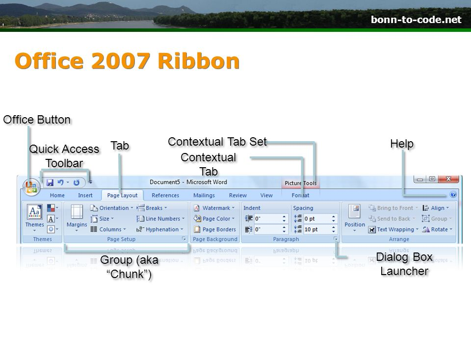 Office 2007 Ribbon Office Button Contextual Tab Set Help Tab