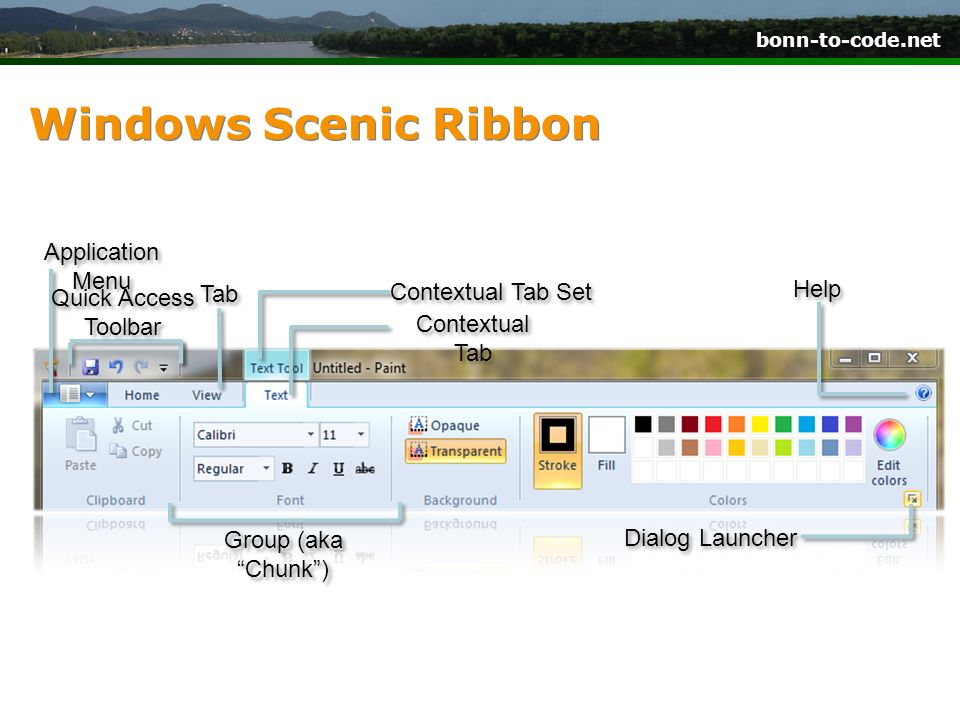Windows Scenic Ribbon Application Menu Help Tab Contextual Tab Set