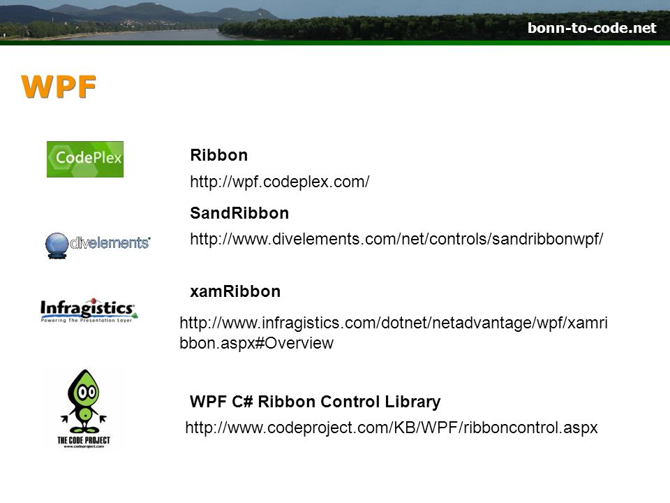 WPF Ribbon http://wpf.codeplex.com/ SandRibbon