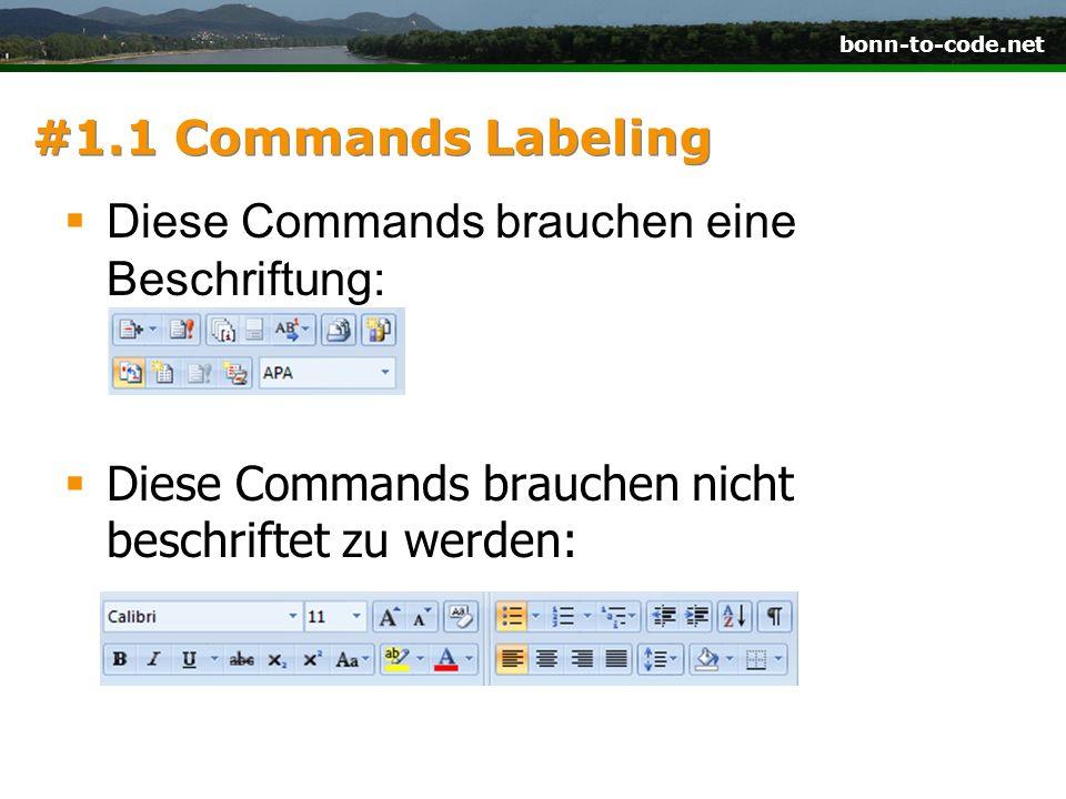 #1.1 Commands LabelingDiese Commands brauchen eine Beschriftung: Diese Commands brauchen nicht beschriftet zu werden: