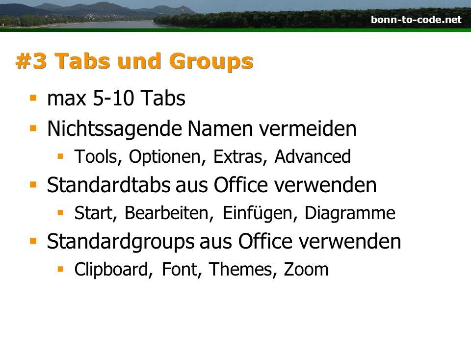 Nichtssagende Namen vermeiden Standardtabs aus Office verwenden