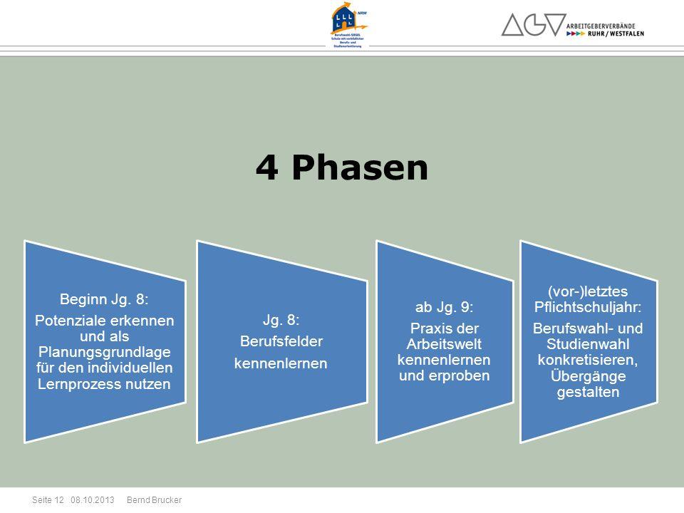 4 Phasen Beginn Jg. 8: Potenziale erkennen und als Planungsgrundlage für den individuellen Lernprozess nutzen.