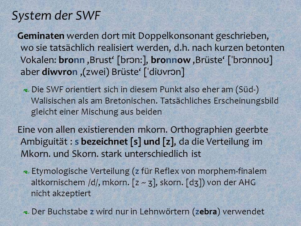 System der SWF Geminaten werden dort mit Doppelkonsonant geschrieben,