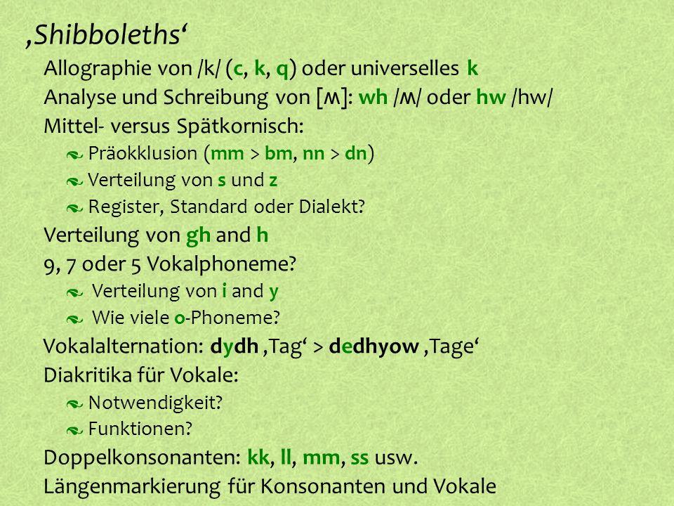 ,Shibboleths' Allographie von /k/ (c, k, q) oder universelles k
