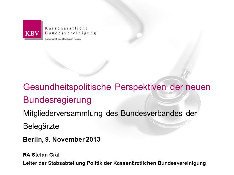 Gesundheitspolitische Perspektiven der neuen Bundesregierung Mitgliederversammlung des Bundesverbandes der Belegärzte Berlin, 9. November 2013
