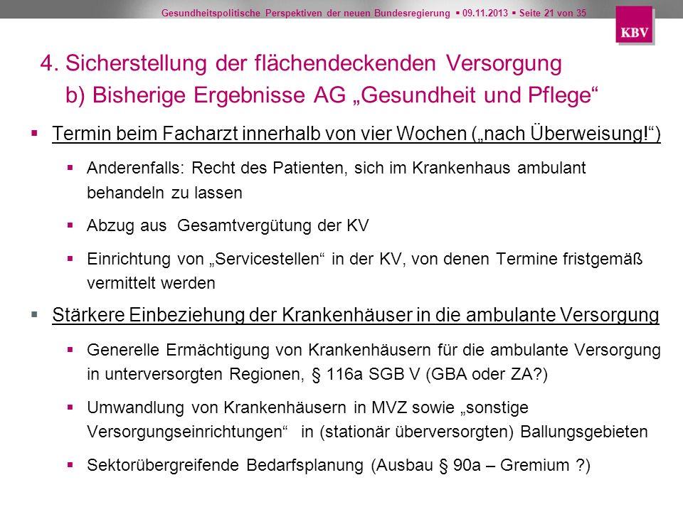 """4. Sicherstellung der flächendeckenden Versorgung b) Bisherige Ergebnisse AG """"Gesundheit und Pflege"""