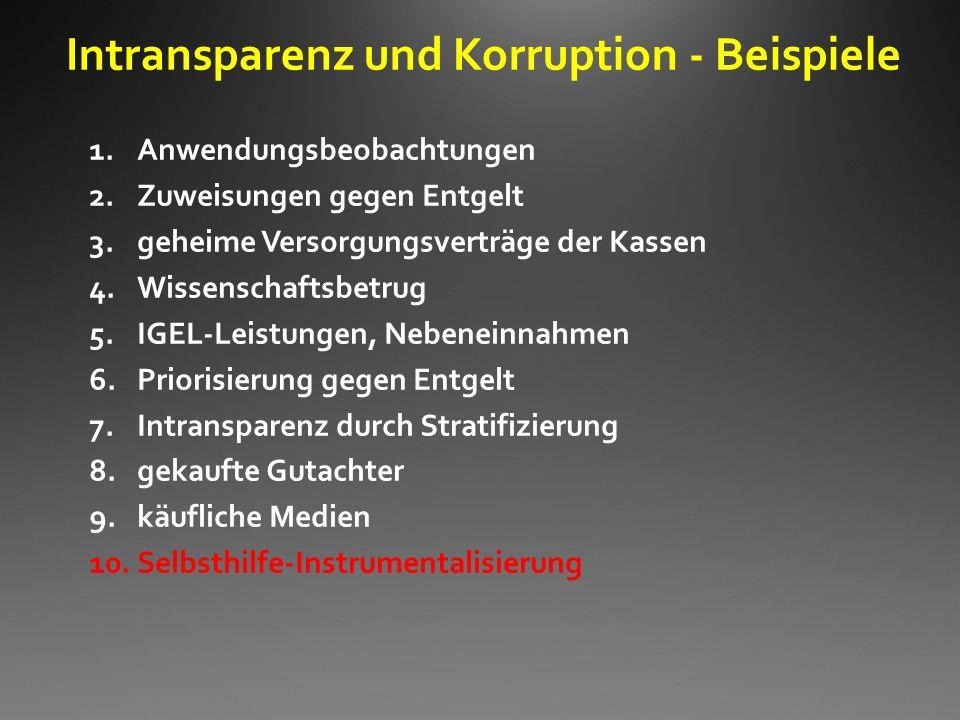 Intransparenz und Korruption - Beispiele