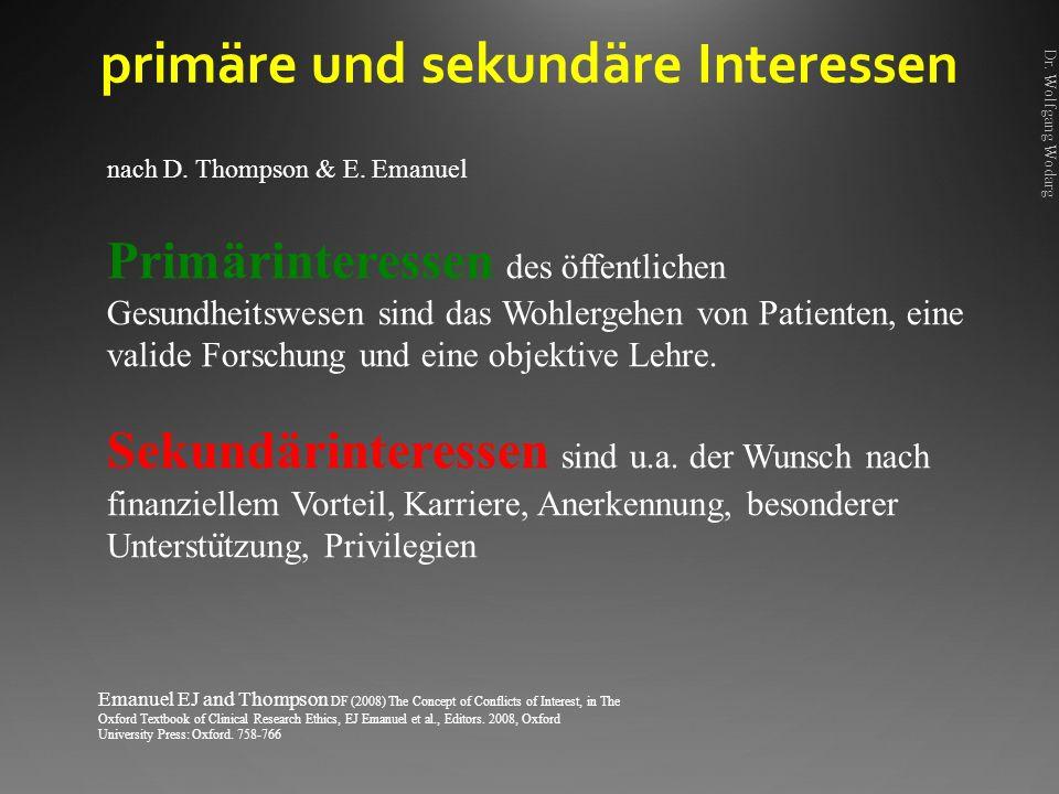 primäre und sekundäre Interessen