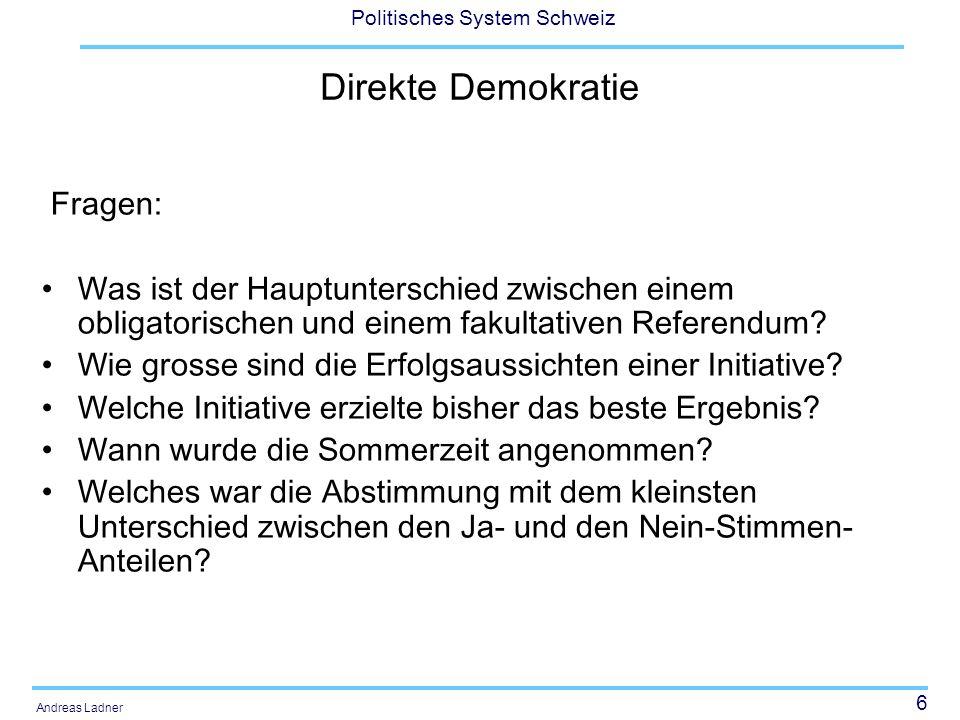 Direkte Demokratie Fragen: