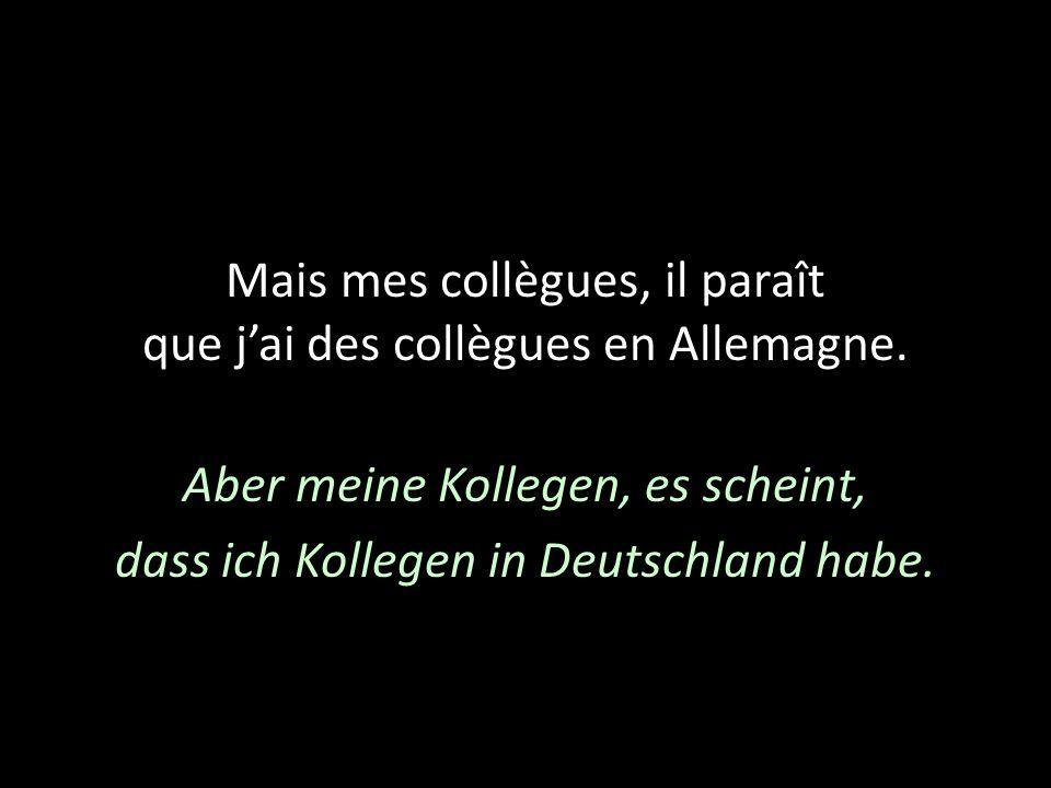 Mais mes collègues, il paraît que j'ai des collègues en Allemagne.