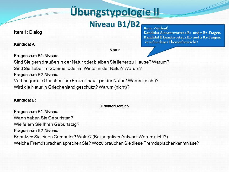 Übungstypologie II Niveau B1/B2