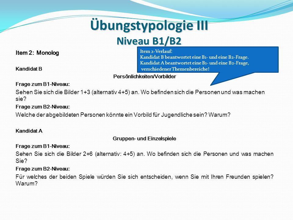 Übungstypologie III Niveau B1/B2