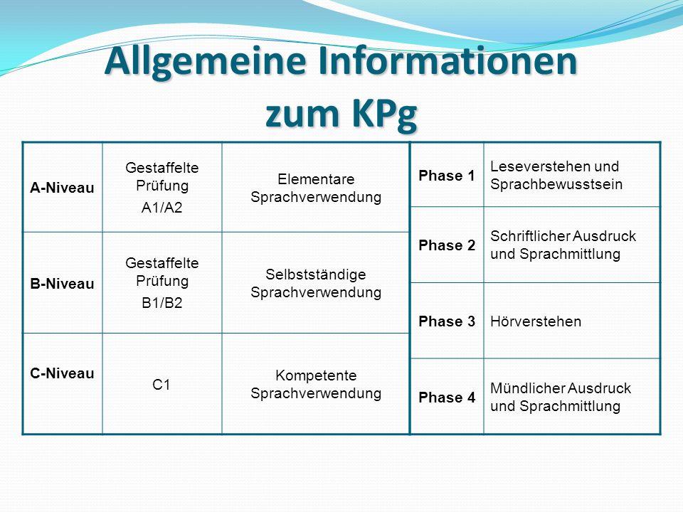 Allgemeine Informationen zum KPg