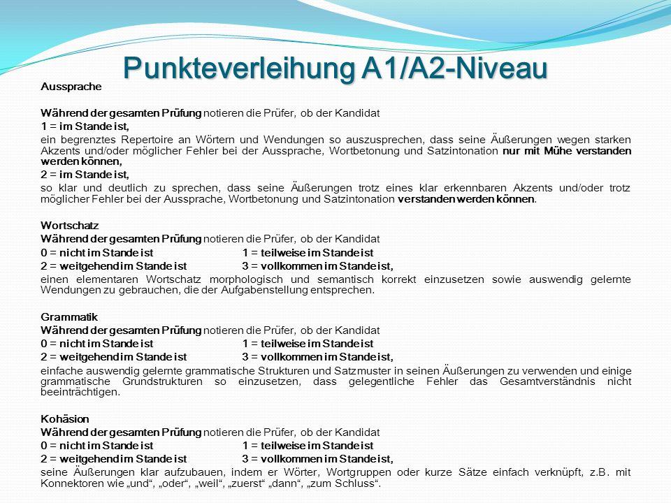 Punkteverleihung A1/A2-Niveau