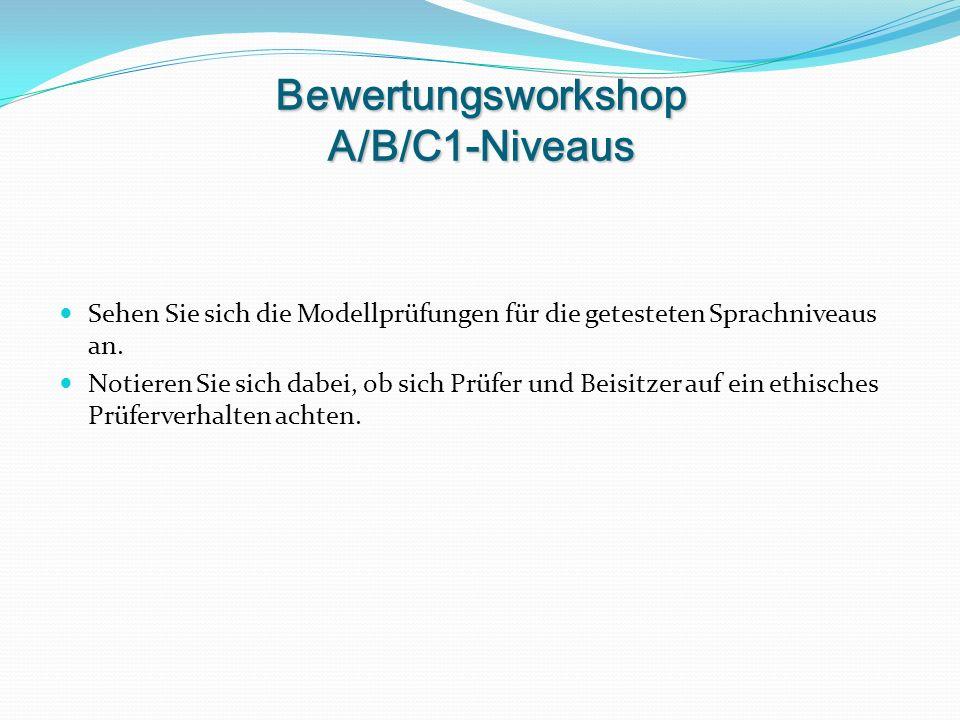 Bewertungsworkshop A/B/C1-Niveaus