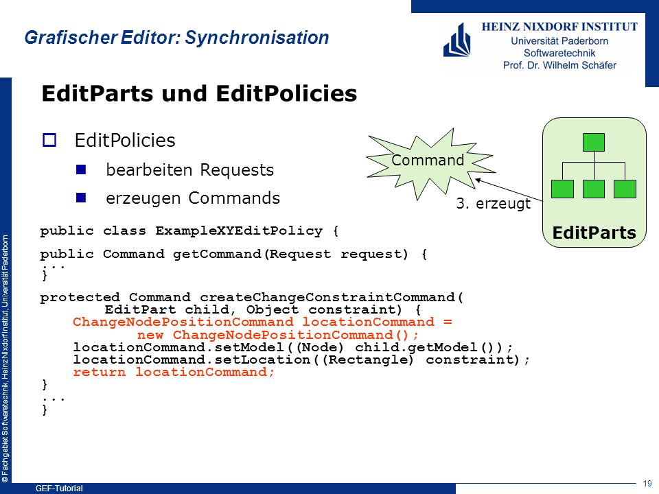 Grafischer Editor: Synchronisation