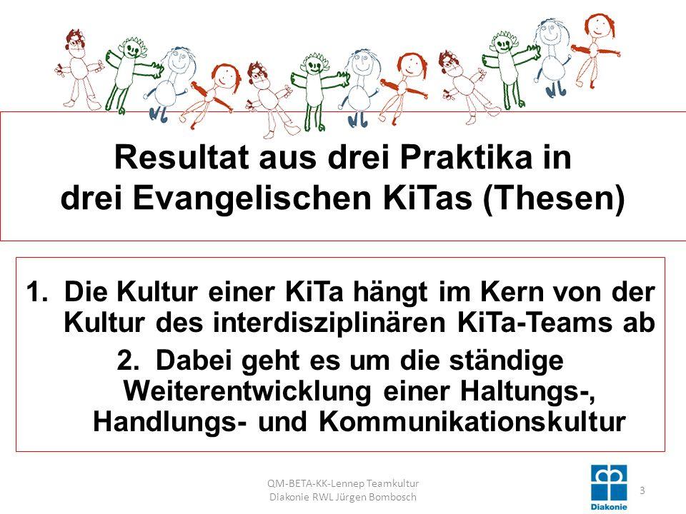 Resultat aus drei Praktika in drei Evangelischen KiTas (Thesen)