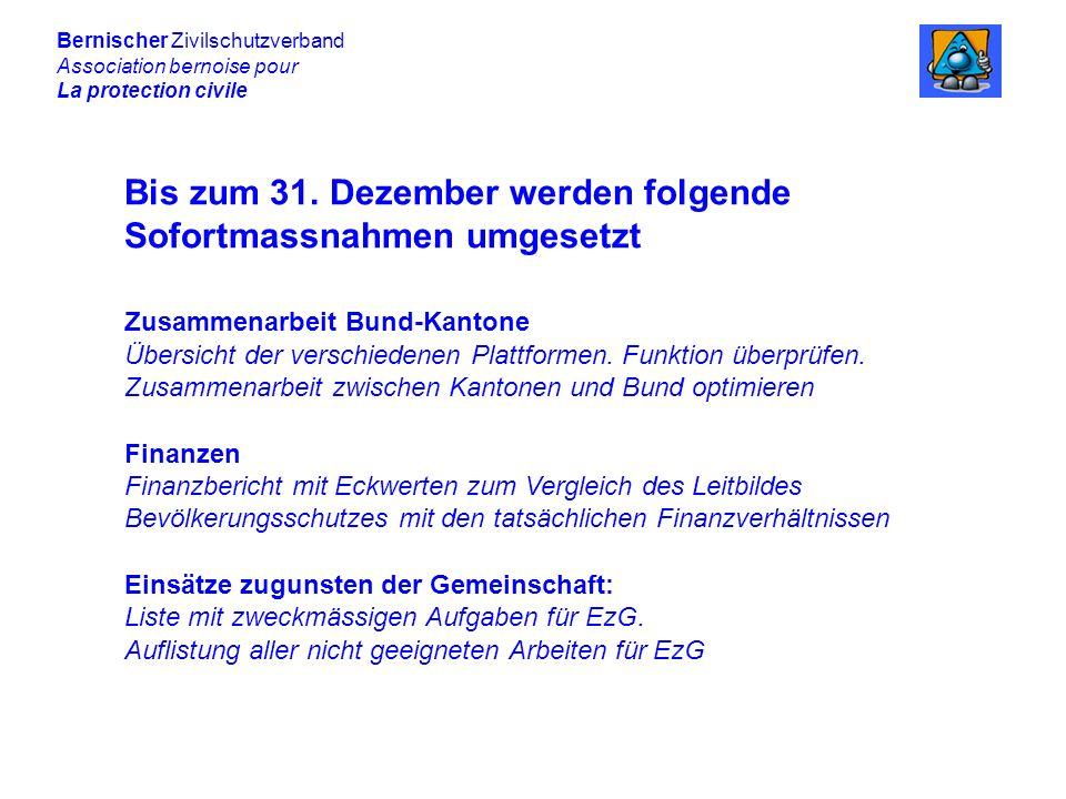 Bis zum 31. Dezember werden folgende Sofortmassnahmen umgesetzt