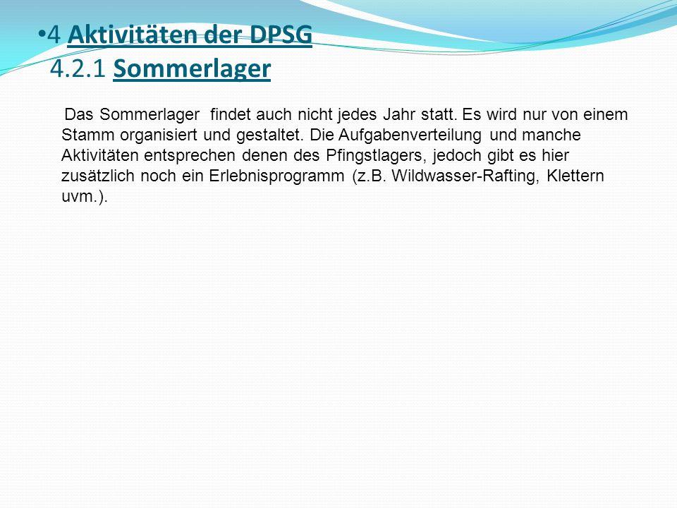 4 Aktivitäten der DPSG 4.2.1 Sommerlager