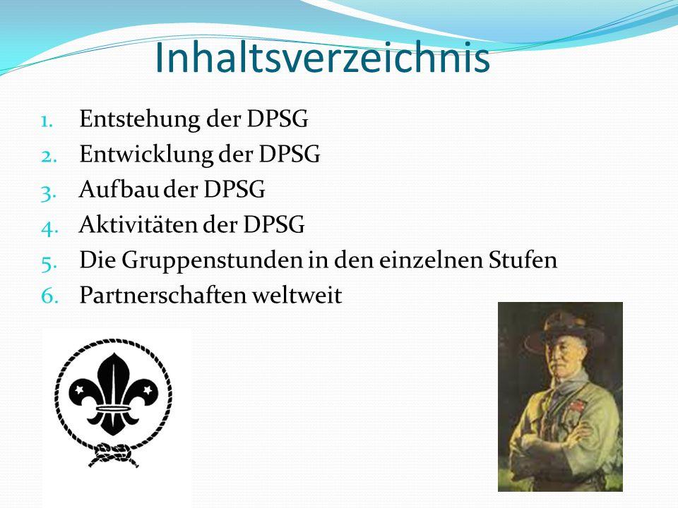 Inhaltsverzeichnis Entstehung der DPSG Entwicklung der DPSG