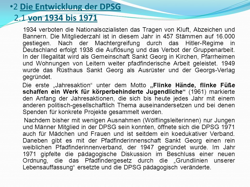 2 Die Entwicklung der DPSG 2.1 von 1934 bis 1971