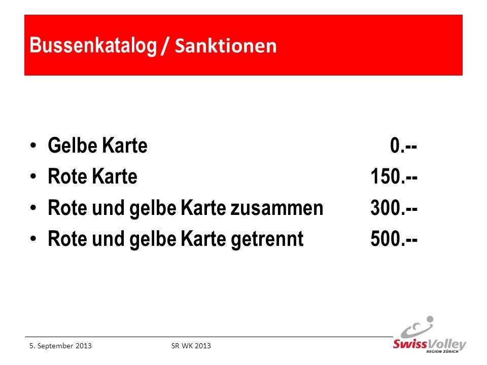 Bussenkatalog / Sanktionen