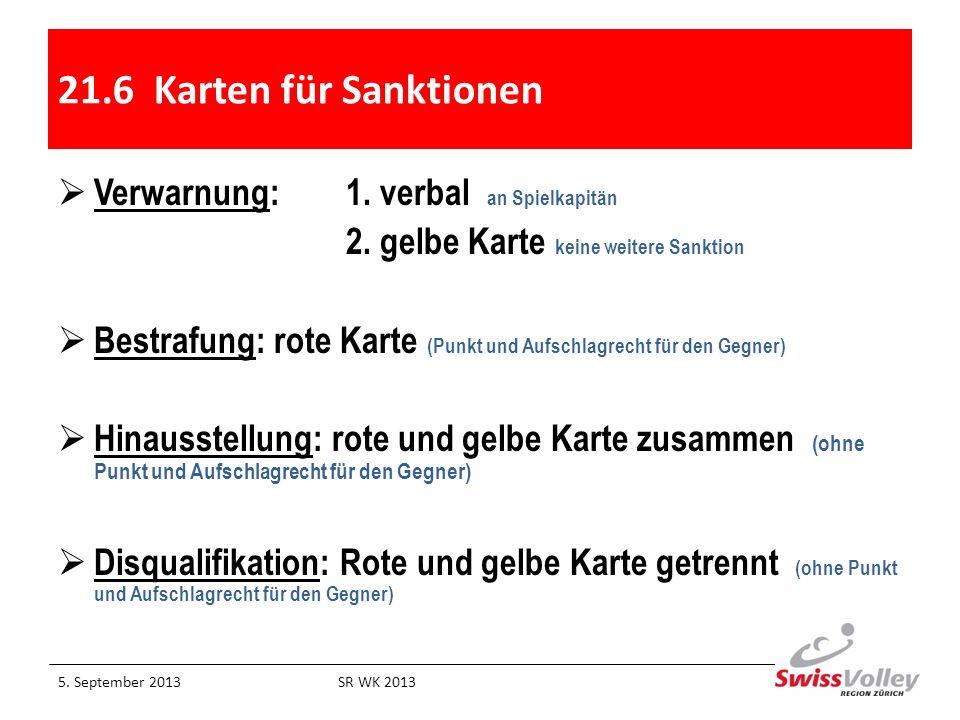 21.6 Karten für Sanktionen Verwarnung: 1. verbal an Spielkapitän