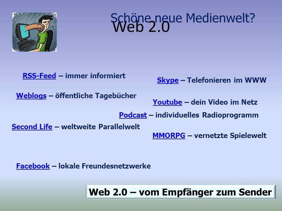 Web 2.0 Schöne neue Medienwelt Web 2.0 – vom Empfänger zum Sender