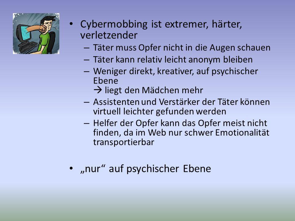Cybermobbing ist extremer, härter, verletzender