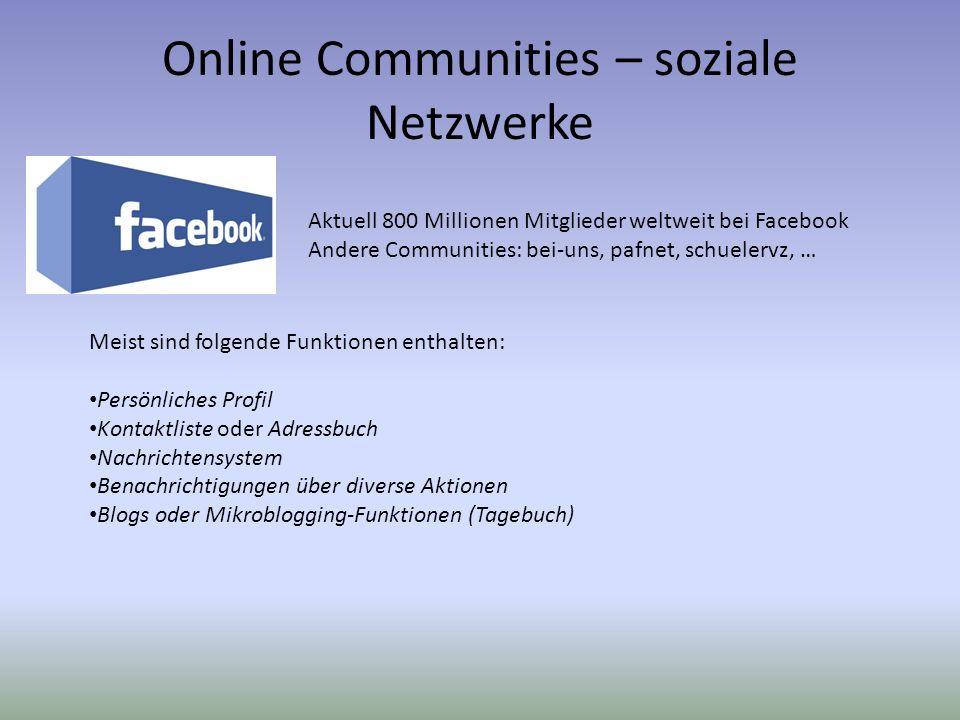 Online Communities – soziale Netzwerke
