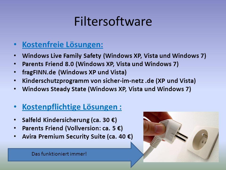 Filtersoftware Kostenfreie Lösungen: Kostenpflichtige Lösungen :