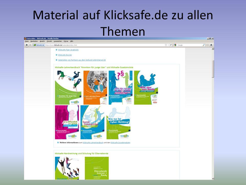 Material auf Klicksafe.de zu allen Themen