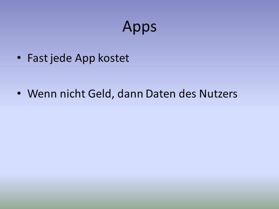 Apps Fast jede App kostet Wenn nicht Geld, dann Daten des Nutzers