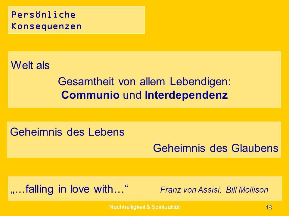 Gesamtheit von allem Lebendigen: Communio und Interdependenz