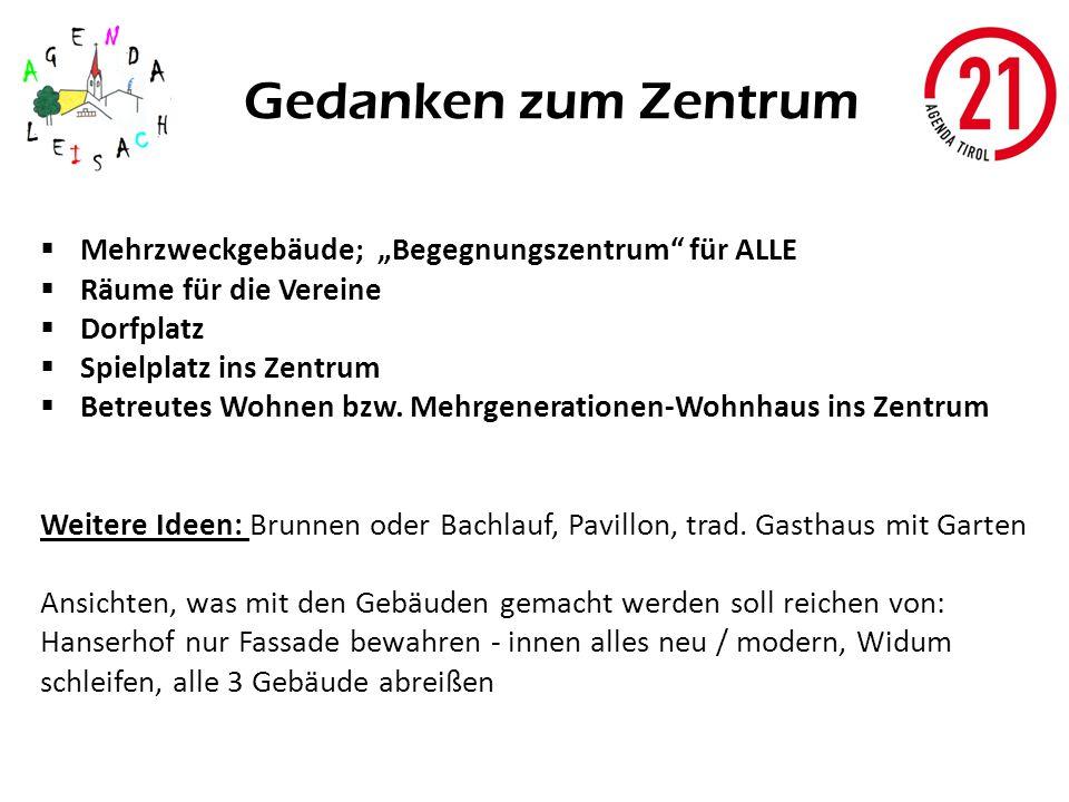 """Gedanken zum Zentrum Mehrzweckgebäude; """"Begegnungszentrum für ALLE"""