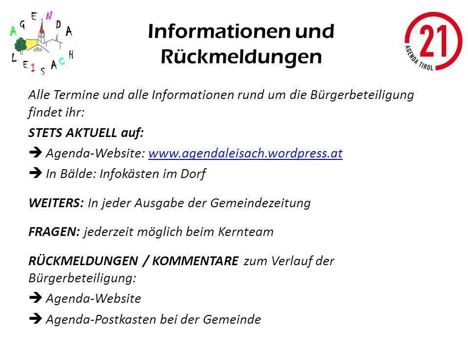 Informationen und Rückmeldungen