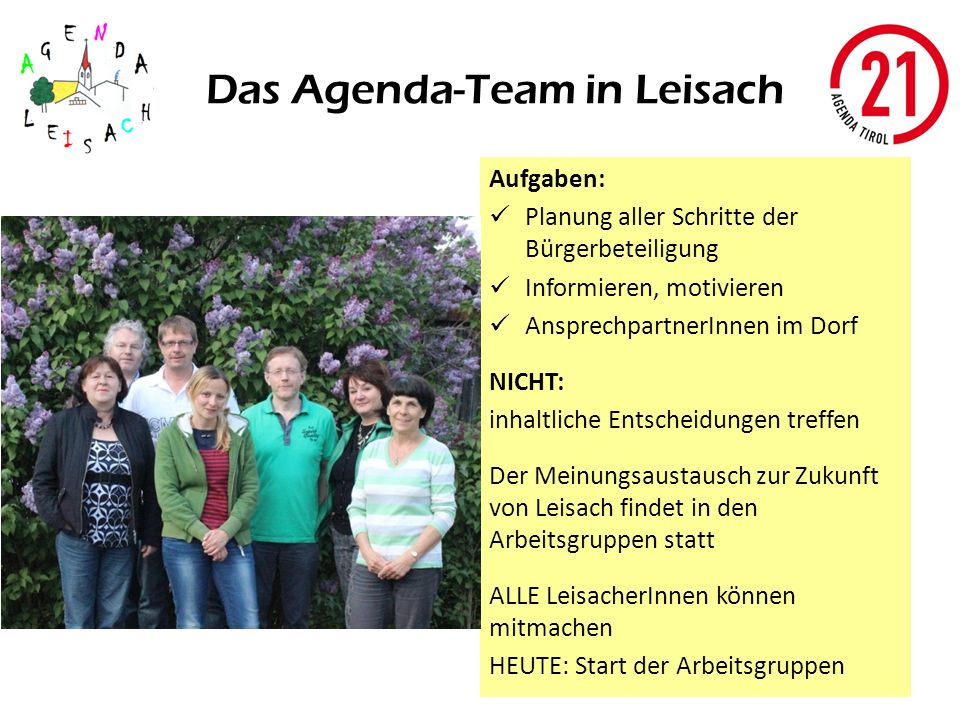 Das Agenda-Team in Leisach